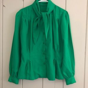 4/$15 Vintage inspired blouse with neck tie green